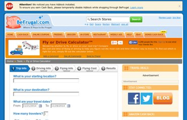 http://www.befrugal.com/tools/fly-or-drive-calculator/