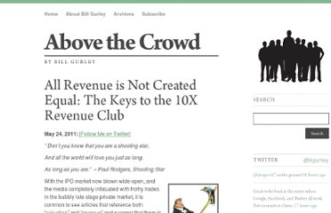 http://abovethecrowd.com/2011/05/24/all-revenue-is-not-created-equal-the-keys-to-the-10x-revenue-club/