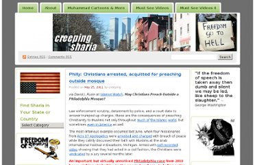 http://creepingsharia.wordpress.com/2011/05/25/philly-christians-arrested-acquitted-for-preaching-outside-mosque/#more-33318