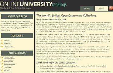 http://onlineuniversityrankings.org/2009/the-worlds-50-best-open-courseware-collections/
