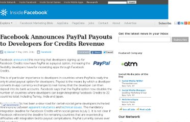 http://www.insidefacebook.com/2011/05/26/facebook-announces-paypal-payouts-through-facebook-credits/