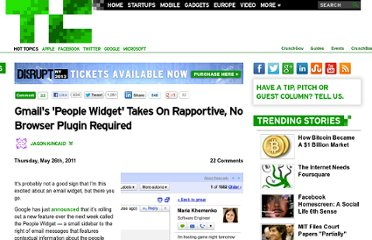 http://techcrunch.com/2011/05/26/gmails-people-widget-takes-on-rapportive-no-browser-plugin-required/