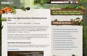 http://www.noupe.com/photoshop/100-free-high-resolution-photoshop-brush-sets.html