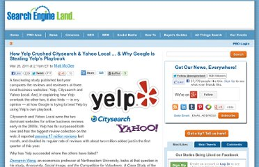 http://searchengineland.com/yelp-crushed-citysearch-yahoo-why-google-stealing-yelps-playbook-78623