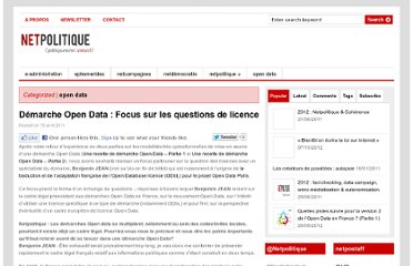 http://netpolitique.net/2011/04/demarche-open-data-focus-sur-les-questions-de-licence/