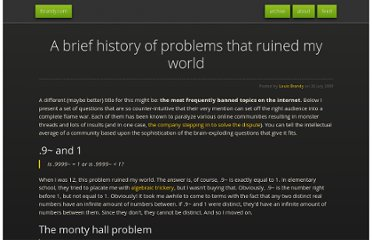 http://lbrandy.com/blog/2009/07/a-brief-history-of-problems-that-ruined-my-world/