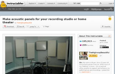 http://www.instructables.com/id/Make-accoustic-panels-for-your-recording-studio-or/#step1