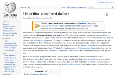 http://en.wikipedia.org/wiki/List_of_films_considered_the_best