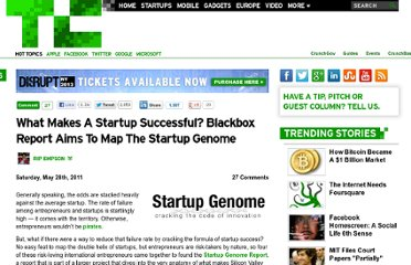http://techcrunch.com/2011/05/28/what-makes-a-startup-successful-blackbox-report-aims-to-map-the-startup-genome/