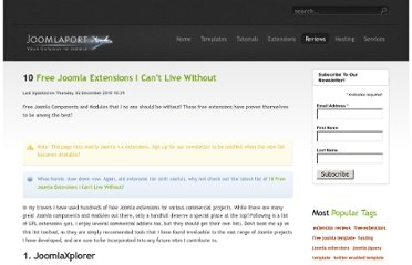 http://www.joomlaport.com/joomla-extension-reviews/10-free-joomla-extensions-i-cant-live-without.html