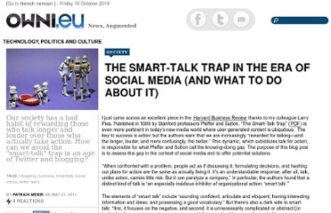 http://owni.eu/2011/05/27/the-smart-talk-trap-in-the-era-of-social-media-and-what-to-do-about-it/
