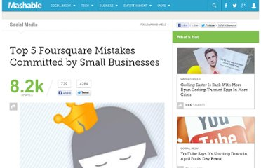http://mashable.com/2011/05/29/foursquare-marketing-mistakes/