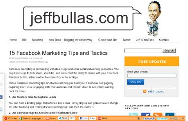http://www.jeffbullas.com/2011/05/30/15-facebook-marketing-tips-and-tactics/