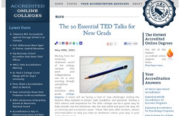 http://www.accreditedonlinecolleges.com/blog/2011/the-20-essential-ted-talks-for-new-grads/