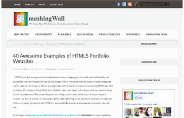 http://smashingwall.com/inspiration/html5-portfolio-websites/