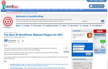 http://blog.ineedhits.com/tips-advice/the-best-30-wordpress-website-plugins-for-2011-30149564.html