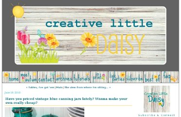 http://creativelittledaisy.typepad.com/creative_little_daisy/2010/06/have-you-priced-vintage-blue-canning-jars-lately-wanna-make-your-own-really-cheap-.html
