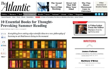 http://www.theatlantic.com/entertainment/archive/2011/05/10-essential-books-for-thought-provoking-summer-reading/239657/