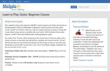 http://www.mahalo.com/learn-to-play-guitar-beginner-course/