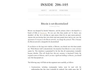 http://blog.ezyang.com/2011/06/bitcoin-is-not-decentralized/