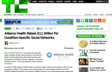 http://techcrunch.com/2011/06/01/alliance-health-raises-11-million-for-condition-specific-social-networks/