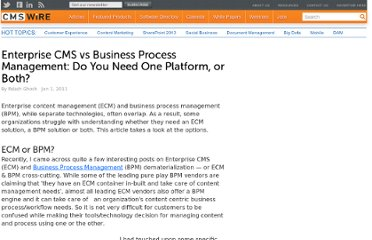 http://www.cmswire.com/cms/enterprise-cms/enterprise-cms-vs-business-process-management-do-you-need-one-platform-or-both-011419.php