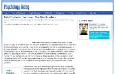 http://www.psychologytoday.com/articles/200703/field-guide-the-loner-the-real-insiders