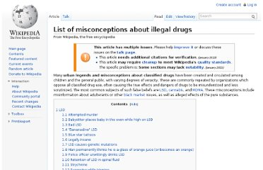 http://en.wikipedia.org/wiki/List_of_misconceptions_about_illegal_drugs