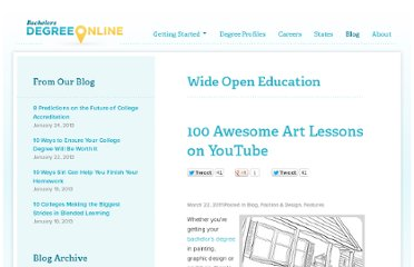http://www.bachelorsdegreeonline.com/blog/2011/100-awesome-art-lessons-on-youtube/