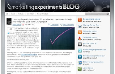 http://www.marketingexperiments.com/blog/research-topics/landing-page-optimization-research-topics/36-articles-and-resources-to-complete-lpo.html