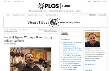 http://blogs.plos.org/neurotribes/2011/06/02/practical-tips-on-writing-a-book-from-22-brilliant-authors/