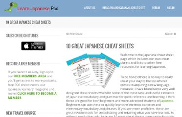 http://learnjapanesepod.com/10-great-japanese-cheat-sheets/