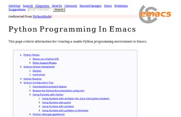 http://www.emacswiki.org/emacs/?action=browse;oldid=PythonMode;id=PythonProgrammingInEmacs
