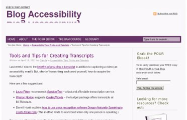 http://blogaccessibility.com/tools-and-tips-for-creating-transcripts/
