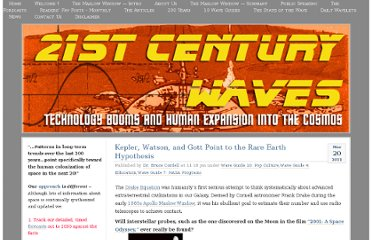 http://21stcenturywaves.com/2011/03/20/kepler-watson-and-gott-point-to-the-rare-earth-hypothesis/