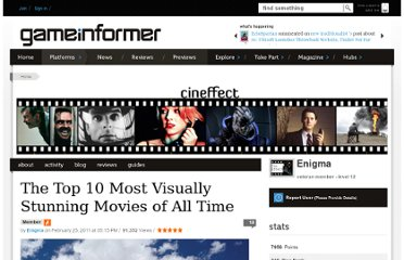 http://www.gameinformer.com/blogs/members/b/enigma13_blog/archive/2011/02/25/the-top-10-most-visually-stunning-movies-of-all-time.aspx