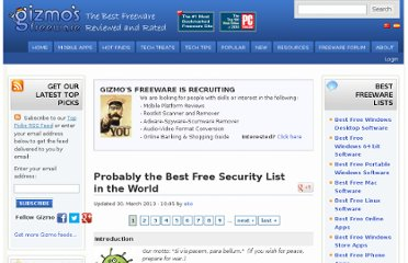 http://www.techsupportalert.com/content/probably-best-free-security-list-world.htm#Tests