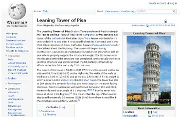 http://en.wikipedia.org/wiki/Leaning_Tower_of_Pisa