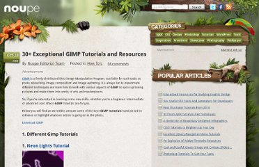 http://www.noupe.com/how-tos/30-exceptional-gimp-tutorials-and-resources.html