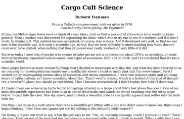 http://neurotheory.columbia.edu/~ken/cargo_cult.html