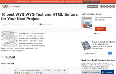 http://www.1stwebdesigner.com/design/10-best-wysiwyg-text-and-html-editors-for-your-next-project/