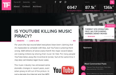 http://torrentfreak.com/is-youtube-killing-music-piracy-110605/