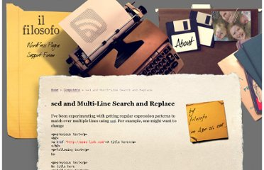 http://austinmatzko.com/2008/04/26/sed-multi-line-search-and-replace/