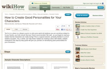 http://www.wikihow.com/Create-Good-Personalities-for-Your-Characters