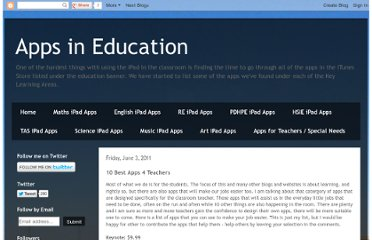 http://appsineducation.blogspot.com/2011/06/apps-for-teachers.html