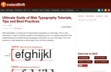 http://www.instantshift.com/2011/05/24/ultimate-guide-of-web-typography-tutorials-tips-and-best-practices/