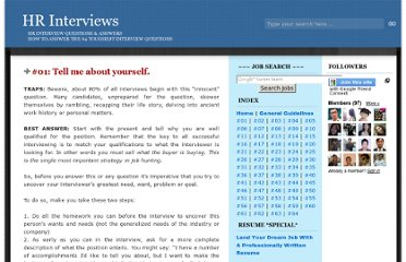 http://hrinterviews.blogspot.com/2006/07/01-tell-me-about-yourself.html