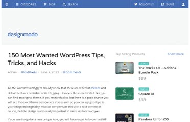 http://designmodo.com/wordpress-tips-tricks-hacks/