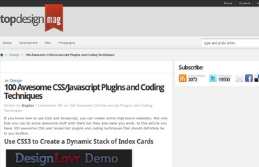 http://www.topdesignmag.com/100-awesome-cssjavascript-plugins-and-coding-techniques/