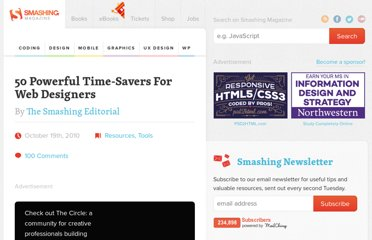 http://coding.smashingmagazine.com/2010/10/19/50-powerful-time-savers-for-designers/